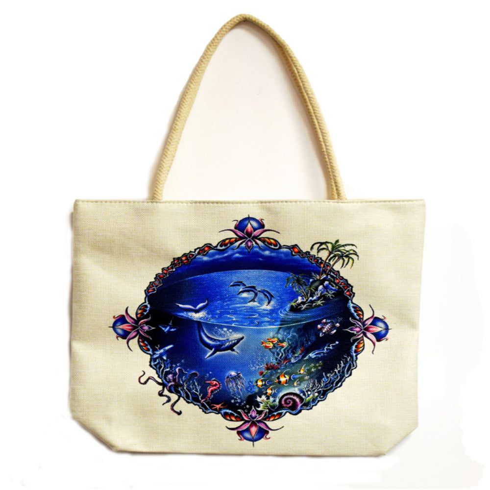 Sea Life Techno Jute Tote Bag - Shag Alternative Superstore