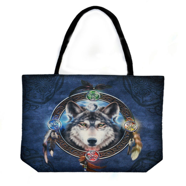 Wolf Techno Jute Tote Bag - Shag Alternative Superstore