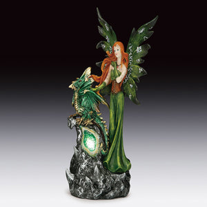 "Green Fairy with Dragon LED Light Up Geode Figurine (8.5"")"
