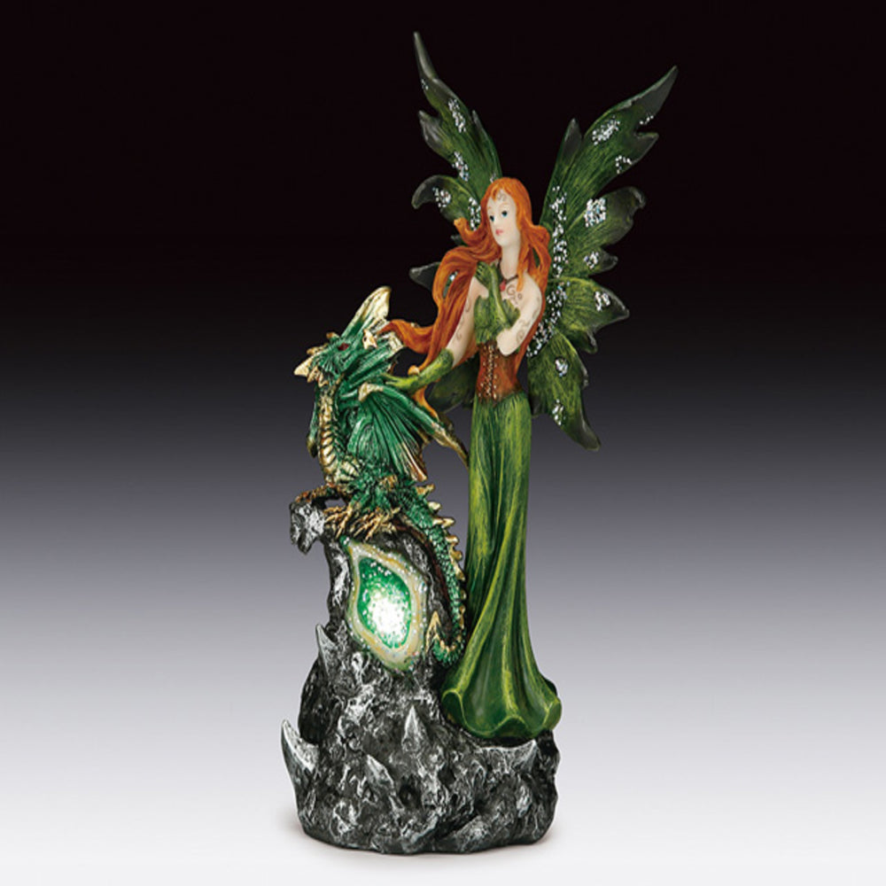 Green Fairy with Dragon LED Light Up Geode Figurine (8.5