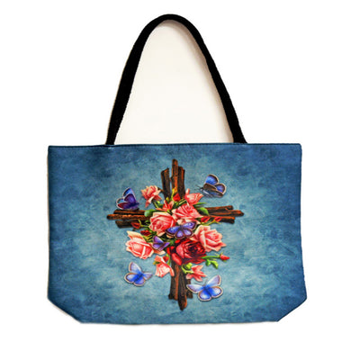 Cross with Roses Techno Jute Tote Bag - Shag Alternative Superstore