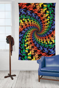 "3-D Grateful Dead Dancing Bears Spiral Tapestry (60""x90"") - Shag Alternative Superstore"