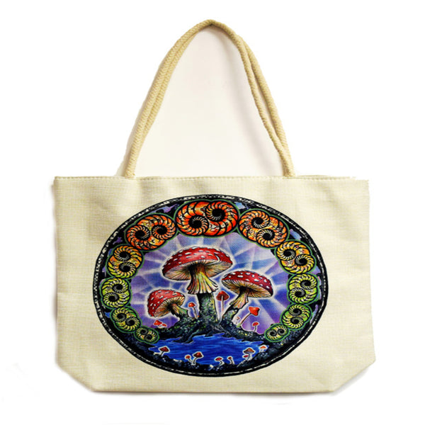 Mushroom Techno Jute Tote Bag - Shag Alternative Superstore