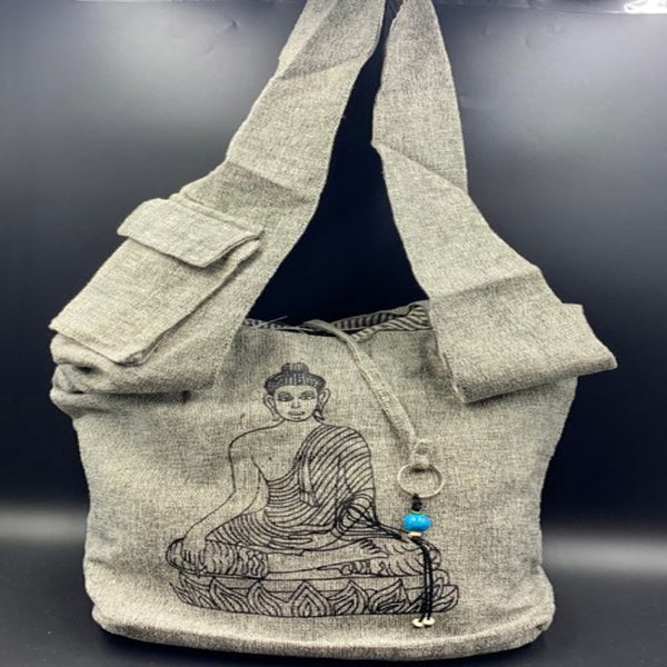 Grey Cotton Shoulder Bag - Buddha - Shag Alternative Superstore