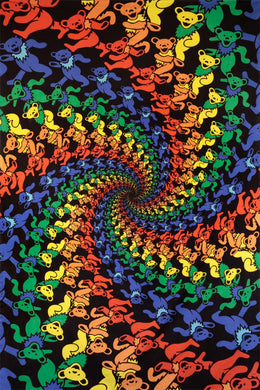 3-D Grateful Dead Dancing Bears Spiral Tapestry (60