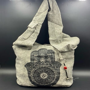 Grey Cotton Shoulder Bag - Hamsa - Shag Alternative Superstore
