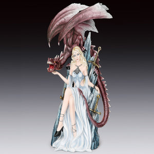"Lady on Sword Throne with Dragon Statue (14.5"")"