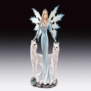 "Snow Fairy with Two Wolves Statue (9.5"")"