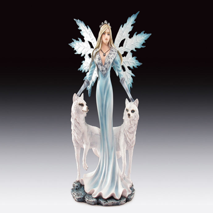 Snow Fairy with Two Wolves Statue (9.5