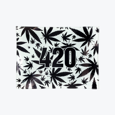 420 B&W Glass Rolling Tray - Small - Shag Alternative Superstore
