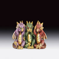 "See, Hear, & Speak No Evil Color Dragon Figurine (3.25"")"