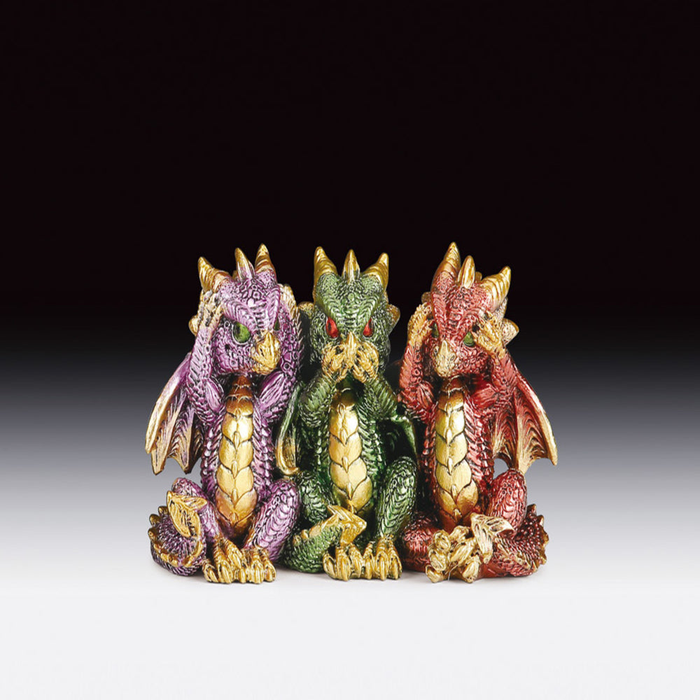 See, Hear, & Speak No Evil Color Dragon Figurine (3.25