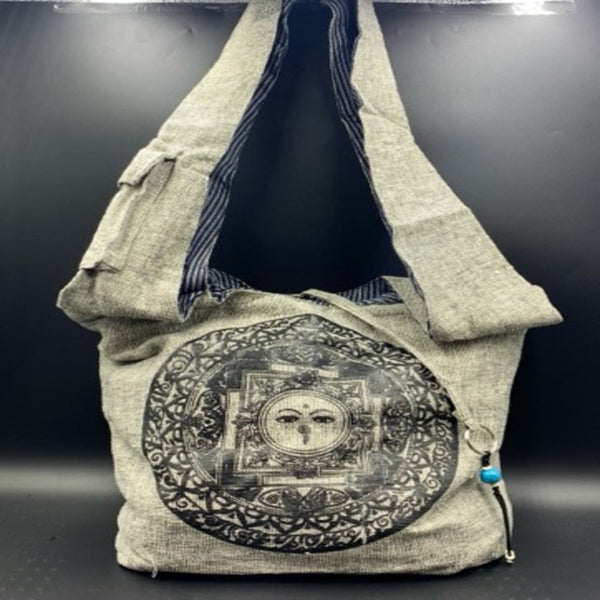 Grey Cotton Shoulder Bag - Buddhist Mandala - Shag Alternative Superstore