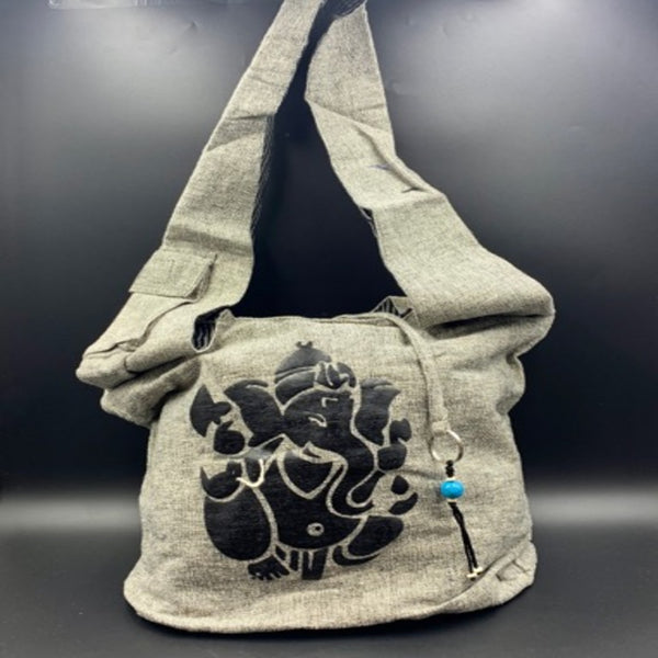 Grey Cotton Shoulder Bag - Ganesh - Shag Alternative Superstore