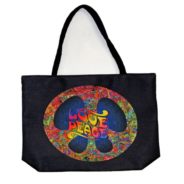 Peace Love Techno Jute Tote Bag - Shag Alternative Superstore