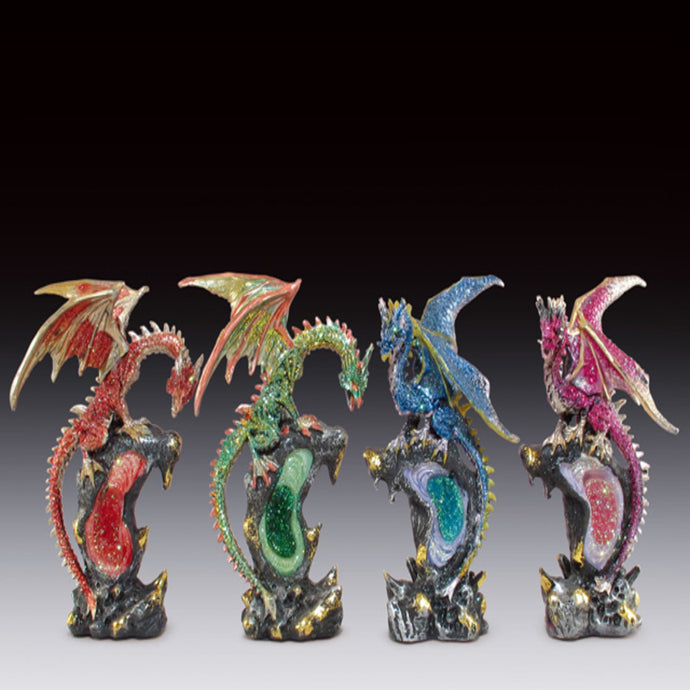 Assorted Dragon with Geode Figurine (6.5
