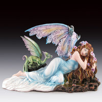 "Sleeping Fairy with Dragon Statue (6.25"")"