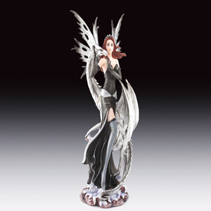"Fairy with White Dragon Statue (10.5"")"