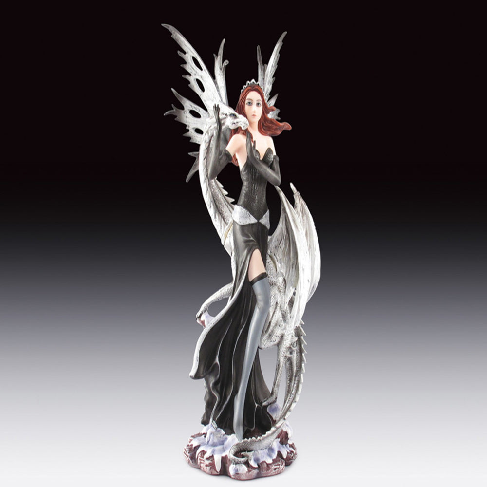 Fairy with White Dragon Statue (10.5
