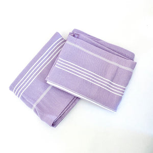 Lavender + White Striped Turkish Towel