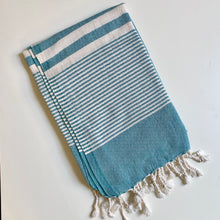 Load image into Gallery viewer, Teal + Cream Striped Turkish Towel