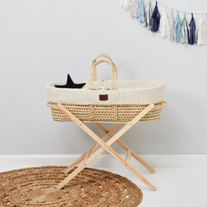 The little green sheep Natural knit Moses basket & mat LINEN