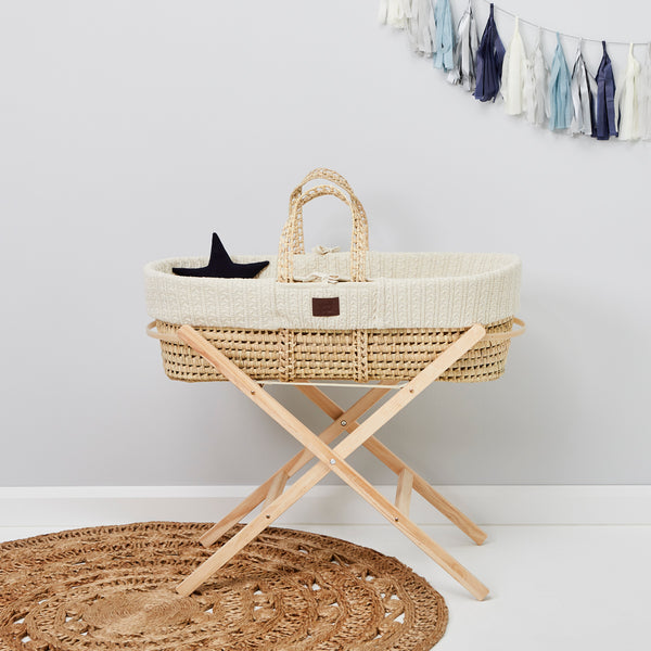 Little Green Sheep Moses Basket 5 piece Bundle