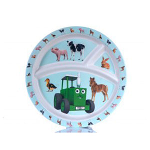 Tractor Ted bamboo divider plate baby animals