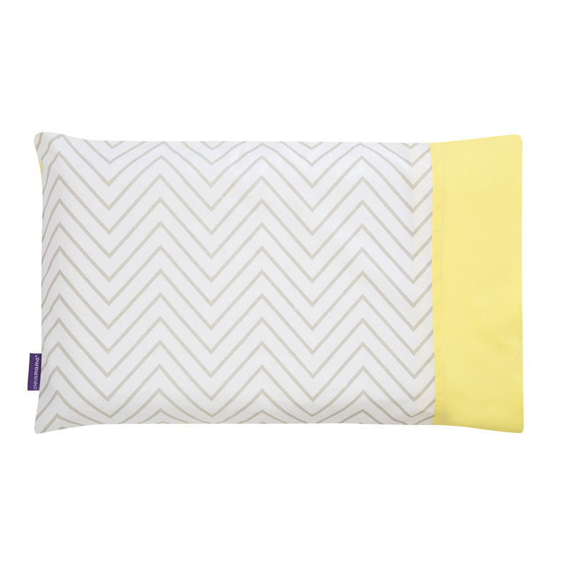 Clevamama ClevaFoam Pram Pillow Case - Grey/Yellow