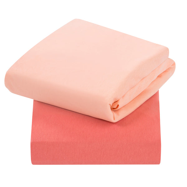 Jersey Cotton Fitted Sheets CotBed (2Pk) Coral