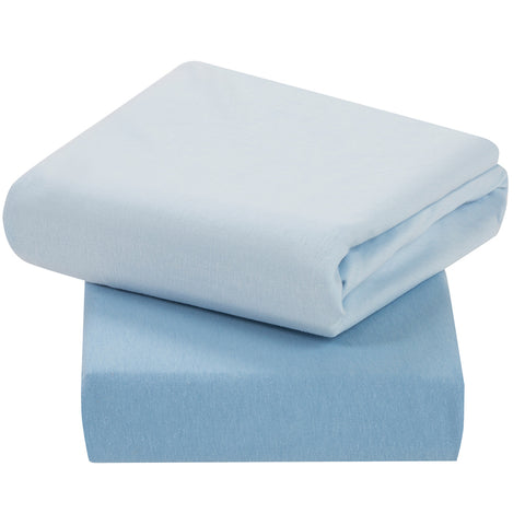 Jersey Cotton Fitted Sheets Cot (2Pk) Blue