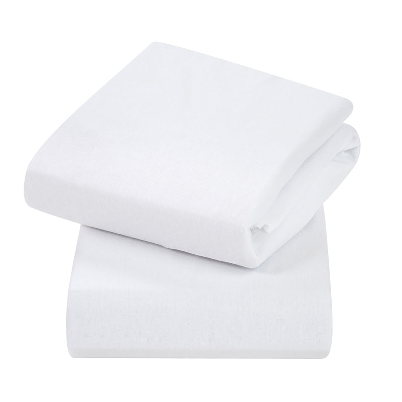 Clevamama Cotton Fitted Sheets 2 pack Cot White