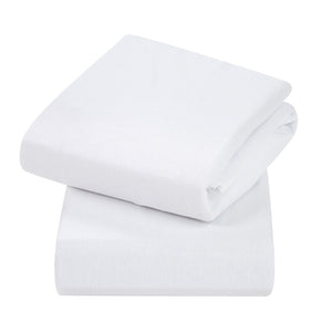 Jersey Cotton Fitted Sheets Crib (2Pk) White