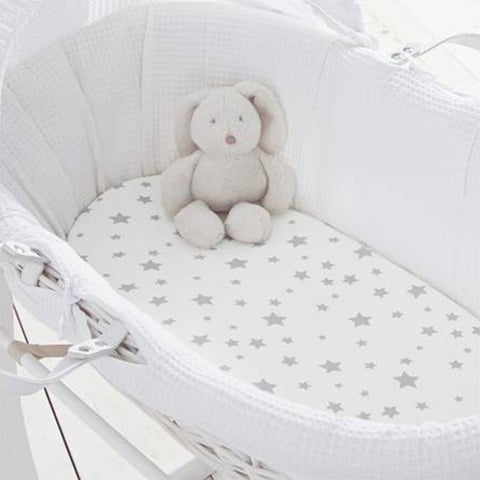 Pram Fitted Sheets (2pk) - Grey Stars