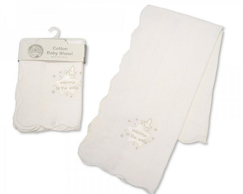 Baby Cotton Christening Shawl - WttW