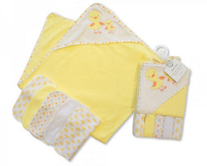 Baby Hooded Towel & Wash Cloth Set-Lemon