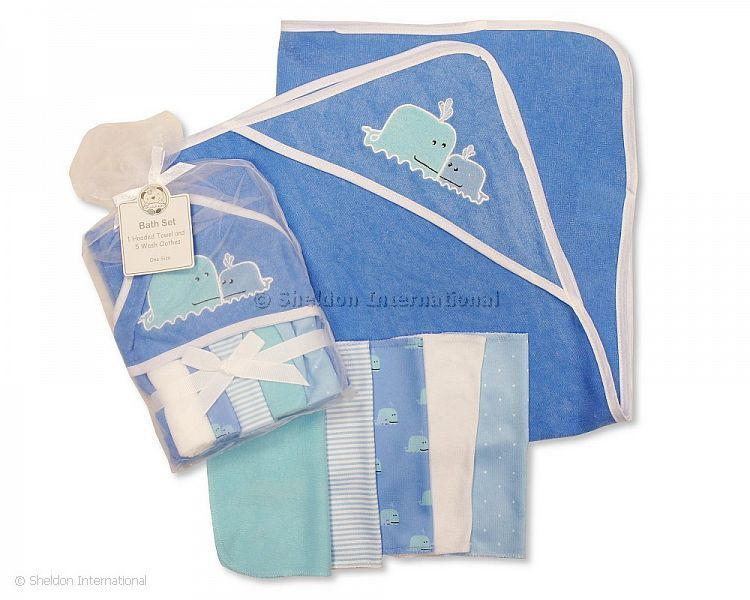 Baby Hooded Towel & Cloth Set - Whales