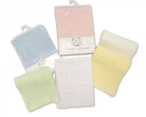 Cotton Cellular Cot Blanket Sky