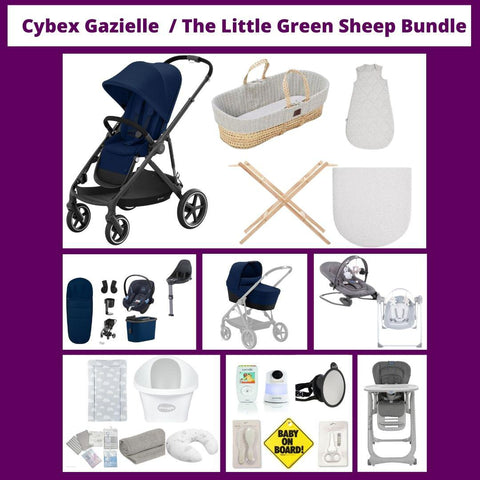 Cybex Gazelle Pram Package /  The Little Green Sheep Moses & Baby Essential Bundle