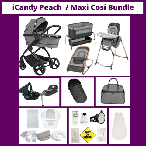 ICandy Peach Pram Package / Maxi Cosi Home & Baby Essentials Bundle