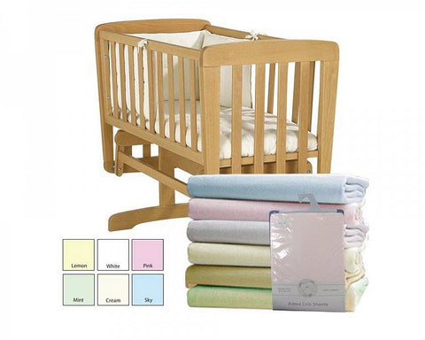 Jersey Cotton Fitted Sheet Moses/Pram-x2