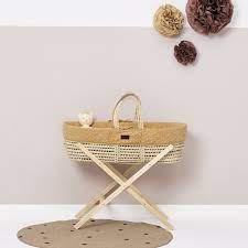 The Little Green Sheep Quilted Moses Basket & Mattress HONEY RICE