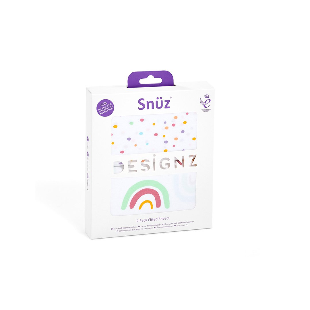 Snuz 2pack Fitted Sheets-Multi Rainbow
