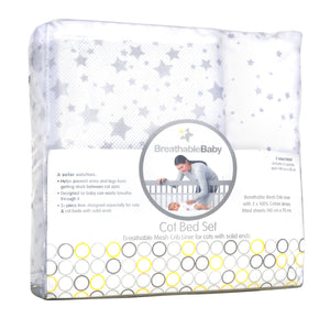Breathable Baby Cotbed mesh liner + Sheets Grey Stars