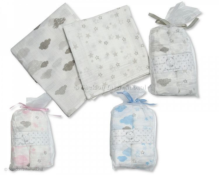 Muslin Squares (2Pk) Pink Clouds & Stars