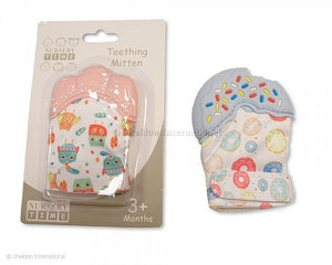 Baby teething mitten blue/pink