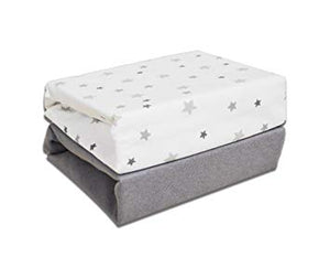 Cot Bed Fitted Sheets (2pk) - Grey Stars