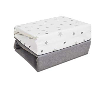 cuddles Fitted 2 pack cotton sheets Cot Grey Stars