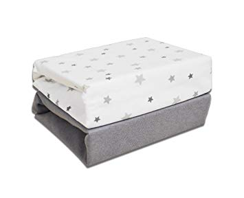 Cot Fitted Sheets (2pk) - Grey Stars