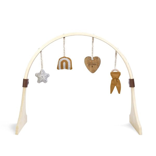 Curved Wooden play gym & charms RAINBOW